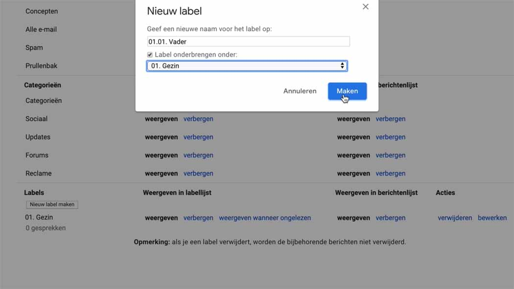 mappen aanmaken in gmail