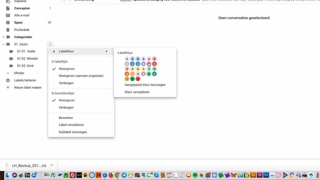 nieuwe map maken in gmail